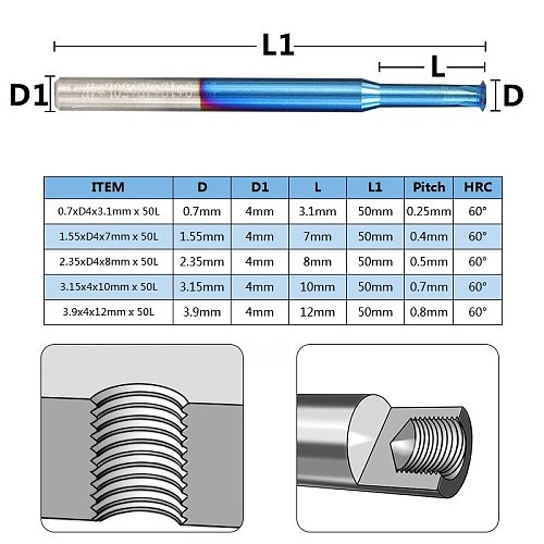 XCAN 1pc P0.25-P0.8 Nano Blue Coated Thread Mills Tungsten Carbide Single Thread Milling Cutter