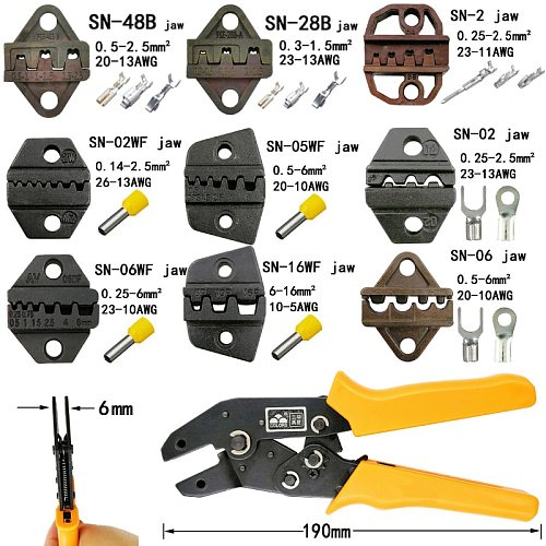 COLORS crimping pliers jaw (jaw width 6mm)/(pliers 190mm) for TAB 2.8 4.8 6.3/C3 XH2.54 3.96 2510 plug spring SN-48B SN-28B SN-2