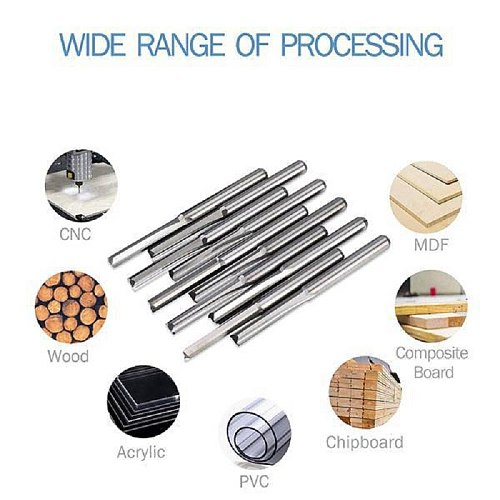 5Pcs 6Mm 22Mm Double Edged Straight Router Bits Straight End Mill Milling Cutter 2 Flutes Cnc Cutting Tungsten Steel Straight Sl