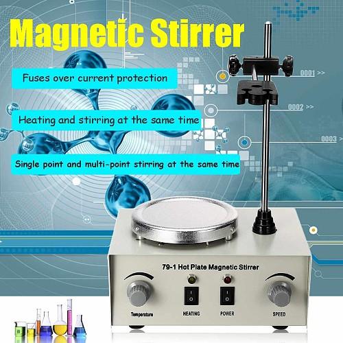 Lab Heating Dual Control Mixer US/AU/EU 79-1 110/220V 250W 1000ml Hot Plate Magnetic Stirrer No Noise/Vibration Fuses Protection