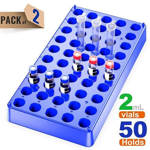 2 Pack Plastc Vial Rack 50 Holds Diameter 12mm 1.5/2ml Vials Centrifuge Tube Racks Stackable Lab Supplies by Ks-Tek