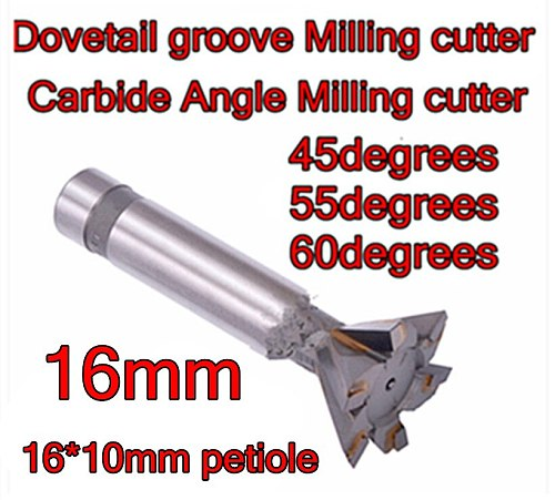 16mm*45-55-60 degrees 4F carbide Angle Milling cutter Dovetail groove Milling cutter Processing copper aluminum cast iron, etc