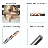 HRC62 4 Flutes End Mill 1mm-20mm Tungsten Steel Straight Shank Milling Cutter CNC Machines Tools Alloy Coating Carbide for Lathe