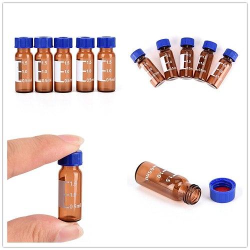 5 Pcs Brown Plastic 2ml Lid Graduated Round Glass Reagent Bottle Blue Screw Cap Screw On Cover Graduation Sample Vials
