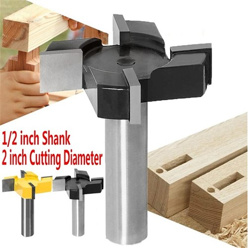 CNC Spoilboard Surfacing Router Bit 1/2 Inch Shank Carbide Tipped for Wood Woodwork Milling Cutting Tools Kits Accessories