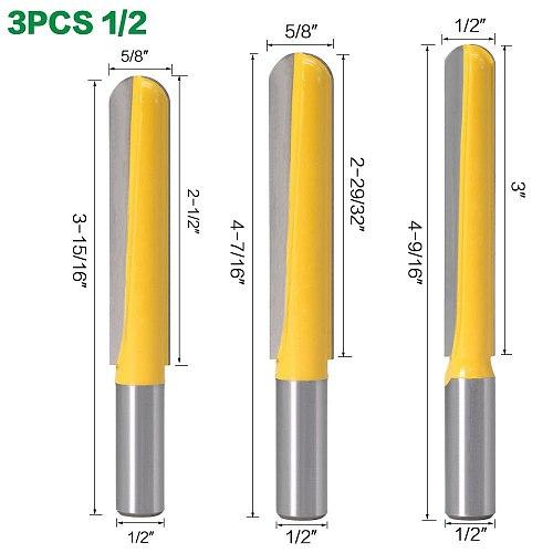 1PC12mm Shank 1/2″shank CNC carbide end mill tool Long Blade Round Nose Bit Core Box Router Bit - Long Reach