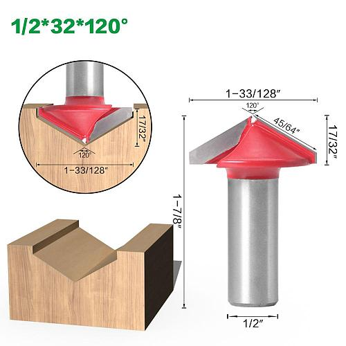 1pc 12mm 1/2″shank V Groove Router Bits CNC Engraving Milling Cutter 90-120 Degree Woodworking Carving Knife Tungsten Carbide Cu