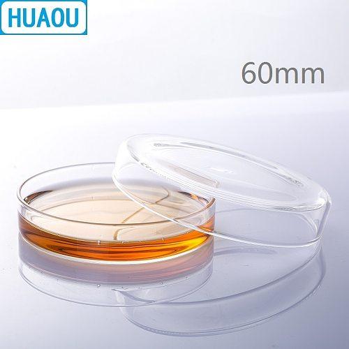 HUAOU 60mm Petri Bacterial Culture Dish Borosilicate 3.3 Glass Laboratory Chemistry Equipment