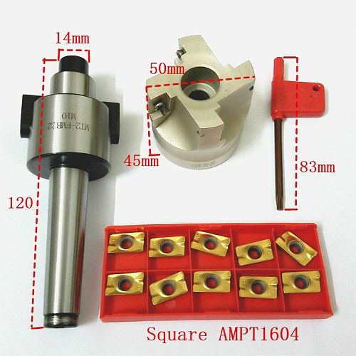 4 Flutes MT2 400R Face End Mill Cutter 50mm + 10pcs APMT1604 Carbide Inserts with Wrench For Milling Tool