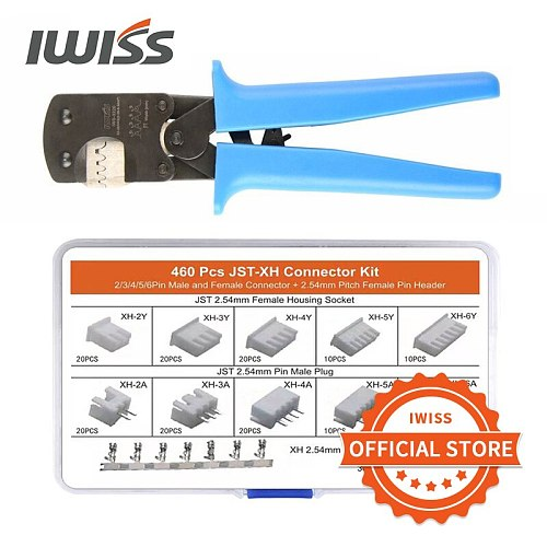 IWISS IWS-3220 460PCS Crimping Pliers Mini Crimper Tool for JST DuPont Terminal Narrow-pitch Connector Pins 0.08-0.5mm²AWG 32-20