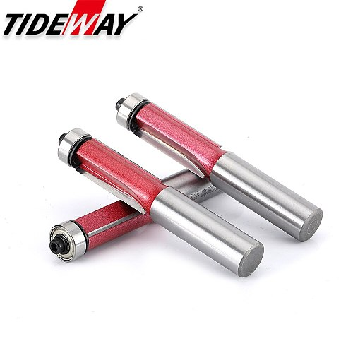 Tideway Bearing Flush Trim Router Bit Industrial Grade Lengthed Milling Bits for Woodworking Tool  1/2 1/4 Trimming CNC Cutter