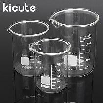 Kicute 3pcs 100ml 150ml 250ml Glass Beaker Set Graduated Transparent Borosilicate Glass Beaker School Study Laboratory Supplies
