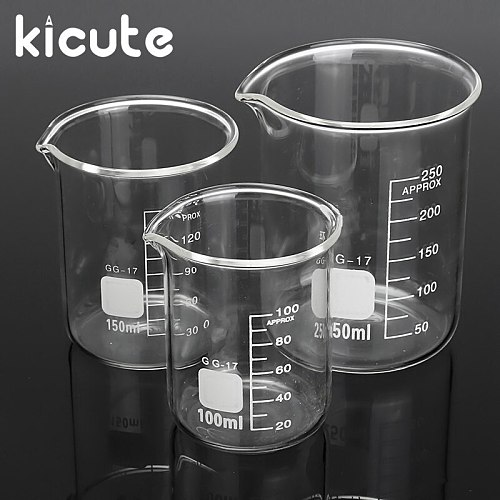 Kicute 3pcs 100ml 150ml 250ml Glass Beaker Set Graduated Transparent Borosilicate Glass Beaker School Study Laboratory Supplies
