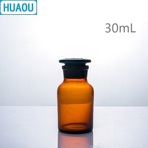 HUAOU 30mL Wide Mouth Reagent Bottle Brown Amber Glass with Ground in Glass Stopper Laboratory Chemistry Equipment