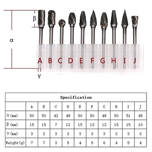 Milling Cutter Rotary Burr Tungsten Carbide Cutter Set Drill Bit CNC Engraving Abrasive Tools for Metalworking Milling Polishing