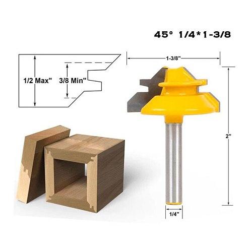 Krachtige 1/4'' Shank Lock Miter Router Bit Tungsten 45 Degree Woodworking Cutter Tools