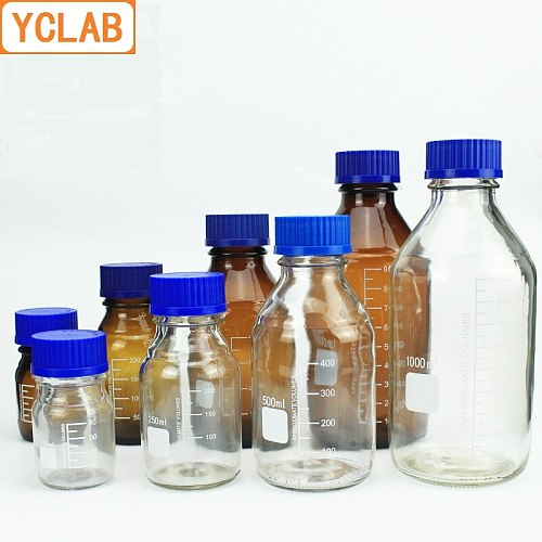YCLAB 50mL Reagent Bottle Screw Mouth with Blue Cap Transparent Clear Glass Medical Laboratory Chemistry Equipment