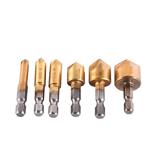 6 Pcs 5 Flute Countersink Drill 1/4'' Hex HSS Shank 90 Degrees Wood Chamferring Cutter Wood Working Repairer 6-19mm Drill Bit