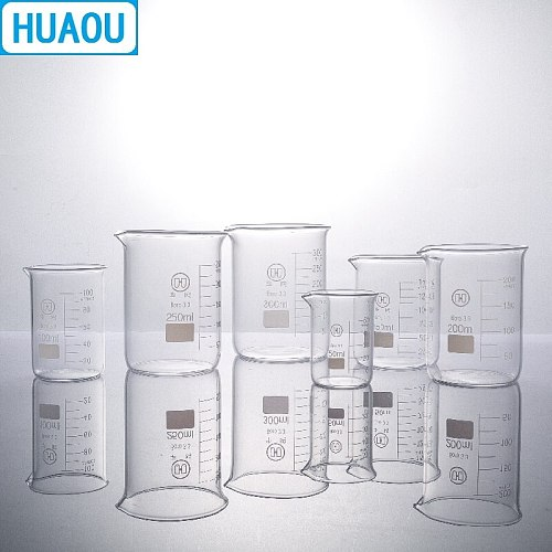 HUAOU 250mL Glass Beaker Low Form Borosilicate 3.3 Glass with Graduation and Spout Measuring Cup Laboratory Chemistry Equipment