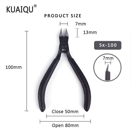 KUAIQU SK100 water cutting pliers  edge super thin single edged carbon steel model pliers slanting pliers Stainless Steel pliers