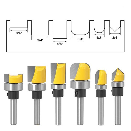 1PC 6mm 1/4 Shank 5/8  3/4 Diameter Bowl & Tray Template Router Bit Trim Pattern RouterWood Cutting Tool woodworking router bits