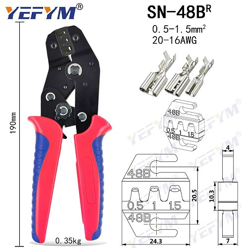 YEFYM crimping pliers jaw for TAB 2.8 4.8 6.3 C3 XH2.54 2510 plug insulation tube terminal tools (jaw width 4mm/pliers 190mm)