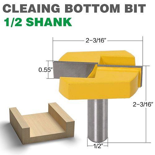Cleaning Bottom Router Bits with 1/2 Shank,2-3/16 Cutting Diameter for Surface Planing Router Bit