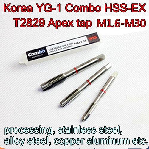 M1.6 M2 M2.5 M3 M3.5 M4 M5 M6 M8 M10 M12 M14 M16 M18 M20 M22 M24 M27 M30 Korea YG-1 Combo HSS-EX  T2829 Apex tap