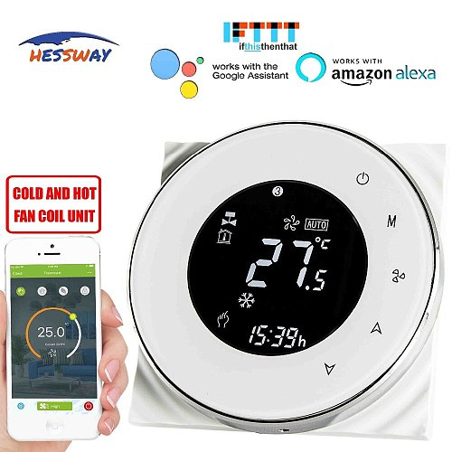 HESSWAY TUYA 2pipe fan coil wifi thermostat temperature controlled for Sensor NTC 10K Works with Alexa Google home