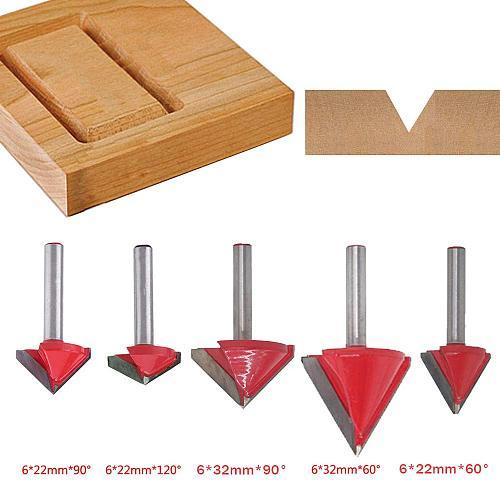 5PCS(60 Deg+90 Deg+120 Deg) Shank-6mm Width-22/32mm,CNC Engraving 3D V Groove Router Bit ,Woodworking Cutter Tool Sets