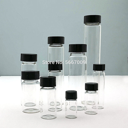 2ml to 60ml Transparent  Glass sample vial Laboratory Reagent bottle Small Clear Medicine Vials for chemical experiment