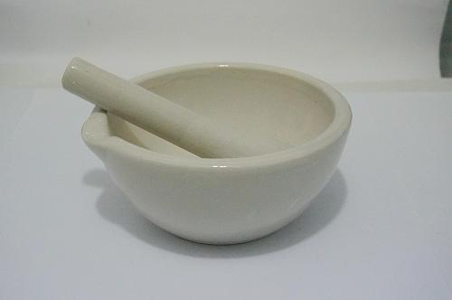 130mm Porcelain Mortar and Pestle Mixing Grinding Bowl Set White Lab Kit Tools