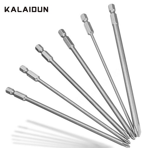 KALAIDUN Screwdriver Bit Set 1/4 Inch Magnetic Hex Cross Head PH1 PH2 Screwdriver Bits 6PCS/Set 150mm Alloy Steel For Appliances