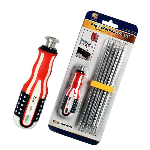 1 Set 6-in-1 replaceable telescopic screwdriver set tool hardware tool  replaceable telescopic screwdriver