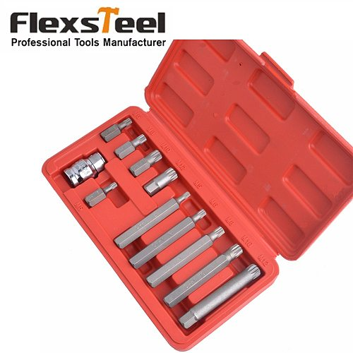 CR-V 11pcs 12 Point Spline Bit Set Screwdriver Bit Sets Including 10PC Spline Bits and 1PC 1/2 inch Drive Socket Adaptor