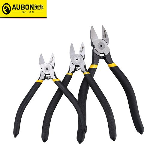 AUBON 5 / 6 / 7  European Type Cr-V Plastic Pliers Nippers Jewelry Electrical Wire Cable Cutters Cutting Side Snips