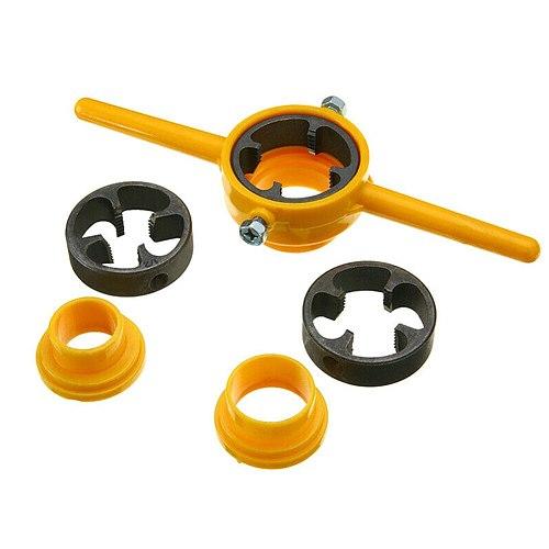 PVC Thread Maker Yellow Pipe Threader Tool Set 1/2  3/4  1  NPT Tube _WK