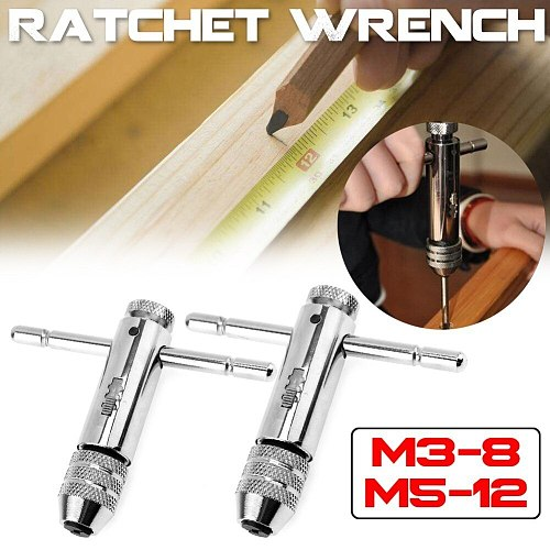 M3-8M 5-12 Die Ratchet Wrench Ratchet T Tap Wrench Holder Metric Imperial Thread Bolt Screw Tap Drill Bit