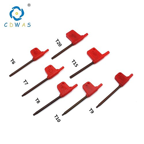 T6 T7 T8 T9 T10 T15 T20 red flag wrench standard Torx for CNC tool holder Torx screw wrench Multifunctional Carbon Steel