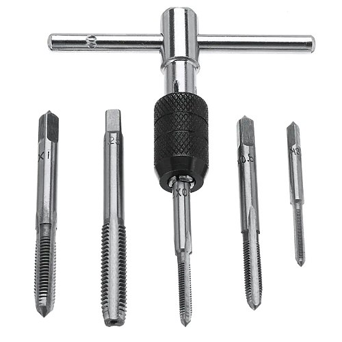 WENXING Metric Standard 6Pcs M3-M8 Tap Drill Set T Handle Ratchet Tap Wrench Machinist Tool With Screw Tap Hand Alloy Steel