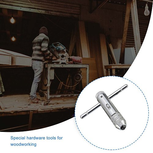 Adjustable 3-8mm T-Handle Ratchet Tap Wrench with M3-M8 Machine Screw Thread Metric  Plug  Tap  Machinist  Tool
