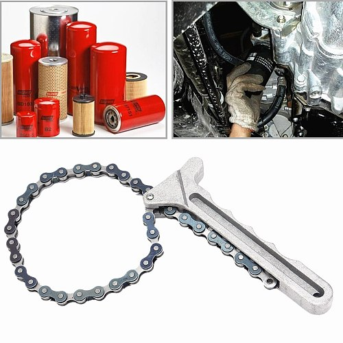 14.6cm/ 5.7 Car Oil Filter Wrench Trucks Key Chain Type Oil Fuel Filter Filters Remover Tool 5.7 445MM Alloy