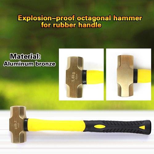 1.4kg/3lb,1.8kg/4lb,Explosion-proof octagonal hammer with rubber handle, Aluminum Bronze
