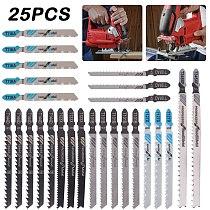 25PCS Saw Blades T-Shank Jigsaw Blades Assorted Blades for Wood Plastic Metal Cutting Saw Blades Made with HCS/HSS/BIM