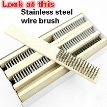 Wood Handle Wire Brush Stainless Steel Paint Remove Rust Brushes Cleaning Polishing Detail Metal Brushes Clean Tools Home Tools