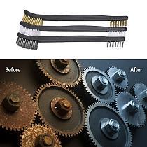 3pcs Mini Wire Brush Set Steel Brass Nylon Cleaning Polishing Detail Metal Rust Brush Polishing Derusting Cleaning Tools