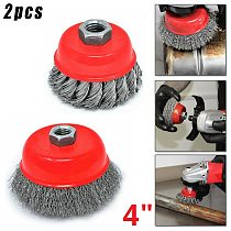 2pcs Wire Brushes Cup Brush Wheel Power Drill 8500RPM Deburr Crimped Remove Paints Rust Grinder Rotary Polishing Cleaning Tool