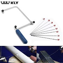 WWW KLY 4  Multifunction Fretsaw Hand Coping Saw Frame Hobby Woodworking Tools with 8pcs Spiral Blades for Wood Plastic Metal