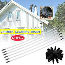 12pc/8pc/6pc Nylon Brush With Long Handle Flexible Pipe Rods For Chimney Kettle House Cleaner Cleaning Brush Tool Kit