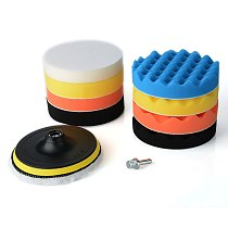 11Pcs 6 inch Sponge Woolen Buffing Pad Auto Car Polishing Wheel Kit With M14 Drill Adapter
